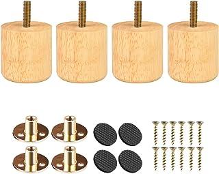 Btowin - Patas de madera maciza para muebles 4 unidades diseño redondo moderno de madera con tornillos roscados de 5/16 ...