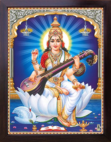 HandicraftStore Göttin Maa Sarasvati mit Ihr Saraswati Vina und sitzend auf Lotus Flower, Göttin der Wissen und Weisheit, Poster Malen mit Rahmen für Religiöse & Verehrung