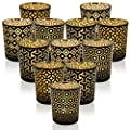 SHMILMH Glass Tealight Candle Holder Black and Gold Set of 12 with 4 Patterns, Votive Candle Holders Bulk Table Centerpiece for Home Décor Wedding from SHMILMH