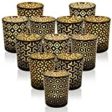 DerBlue 12Pcs Mercury Glass Votive Candle Holders for Wedding Centerpieces, Valentines Dinner, Garden Tub and Any Theme Events(4 Different Black Geometric Patterns)