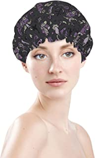 Large Gothic Accessory Black Cat Cartoon Waterproof Shower Cap Bonnet Best Long Curly Hair Cover Adjustable Washable Reusa...