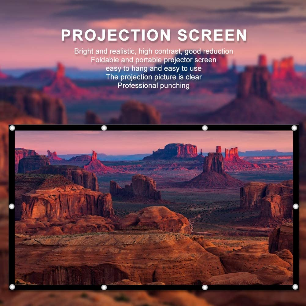 S erounder 60-150 Inch Portable Projector Screen, Foldable 16:9 HD Non-Crease Polyester Projection Curtain with View Angle Visual for Indoor Outdoor Film Theater Movie(150