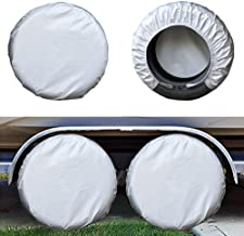 Kayme Four Layers Tire Covers Set of 4 for Rv Travel Trailer Camper Vinyl Wheel, Sun Rain Snow Protector, Waterproof, Silver, Fits 30-32 Inch Tire Diameter XL
