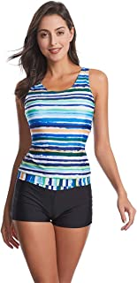 Wellwits Women's Tie Dye Stripes Print Tank Top Boyshorts Tankini Swimsuit