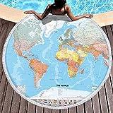Strandtücher Weltkarten mit Flagge Super Absorbent R&e Picknicktisch Abdeckung mit Quasten Handtuch Roben für Frauen Männer Jungen Mädchen Kinder