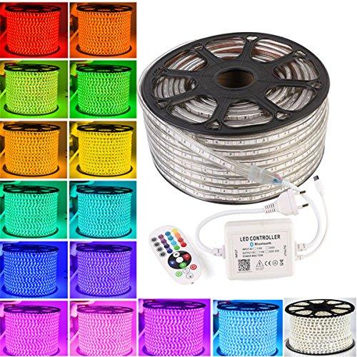 GreenSun LED Lighting Ruban à LED Etanche 5050 SMD 60 LEDs/M Bande Flexible Lumineux avec Télécommande à Infrarouge 24 Touches et Bluetooth Pour Jardin, Bar, Parti, Noël, 20M, RGB