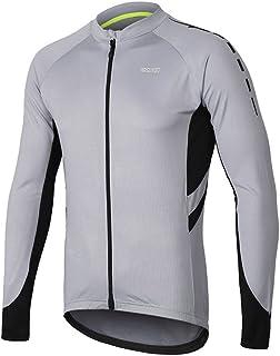 ARSUXEO Men's Full Zipper Long Sleeves Cycling Jersey Bicycle MTB Bike Shirt 6030