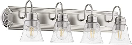 2021 Quorum lowest International 4-LT popular Bath Vanity Light - Satin Nickel w/ Clear/Seeded - 5094-4-265 online sale