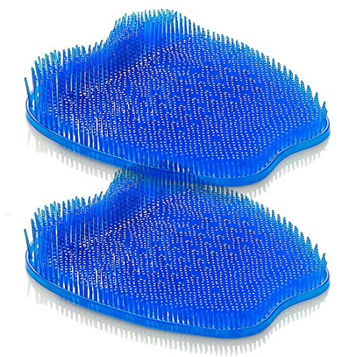 Shower Foot Scrubber - Feet Cleaner with Non Slip Suction Cups Massage Mat Improve Circulation Relieve Tired and Pain Blue (Two Pack)