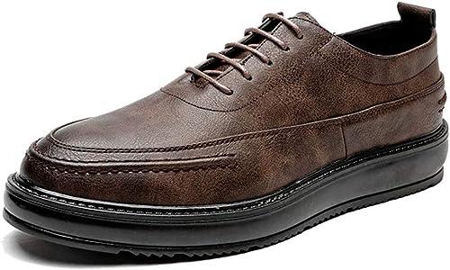 JIALUN-Schuhe Einfache Herrenmode Oxford Casual Trend Komfortable Britische Art Laufsohle Formelle Schuhe (Lackleder Optional) (Farbe   Braun, Größe   44 EU)