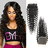 Dai Weier Brazilian Deep Wave Lace Closure Frontal 4x4 Free Part Bleached Knots 100% Body Wave Human Hair Silky 8a Natural Black Sale Friday 16 Inch