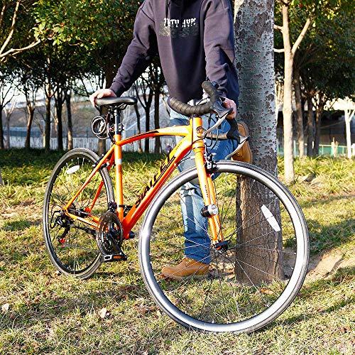 LUCKstoreロードバイクスポーツバイク700Cシマノ14段変速2WAYブレーキシステム搭載ドロップハンドル超軽量高炭素鋼フレームライトのプレゼント付き自転車01(ホワイト)