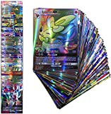 100 Poke Cards TCG Style Card Flash Card Holo EX Full Art for Children, Pokemon Lover