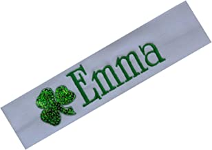 Personalized Sequin Shamrock St Patricks Day Embroidered Headband By Funny Girl Designs