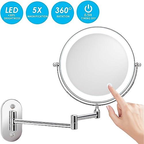 Specchietto da bagno Specchio da appoggio pieghevole in argento da 8 pollici specchio ingranditore Specchi a parete ingrandimento 3 volte