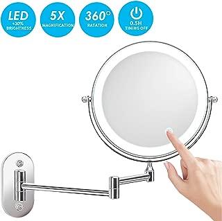 alvorog Espejo de Maquillaje con Luz LED 1X/5X Aumento