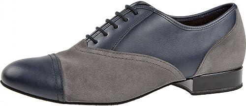 Diahommet Hommes Chaussures de Danse 077-025-455 - Cuir Suède Bleu gris - grand - 2 cm Standard