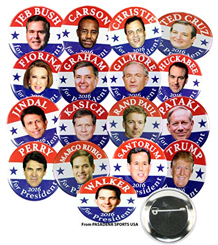 2016 Presidential Campaign Button Set of All 17 Republican Candidates, 1.5