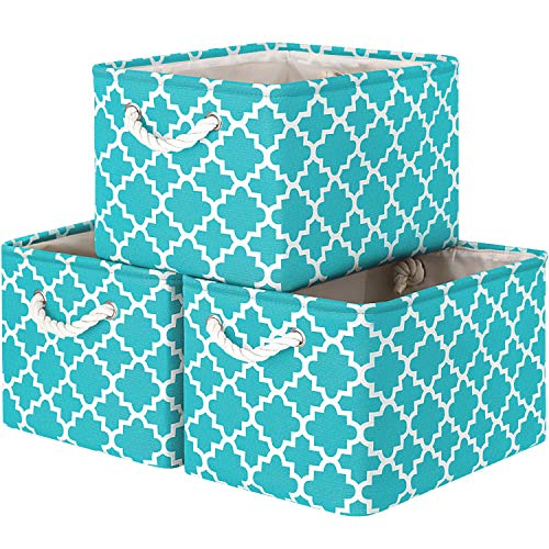 WISELIFE Storage Basket [3-Pack] Large Collapsible Storage Bins Boxes Cubes for Clothes Toys Books, Perfect Storage Organizer w/Handles (Green, 15