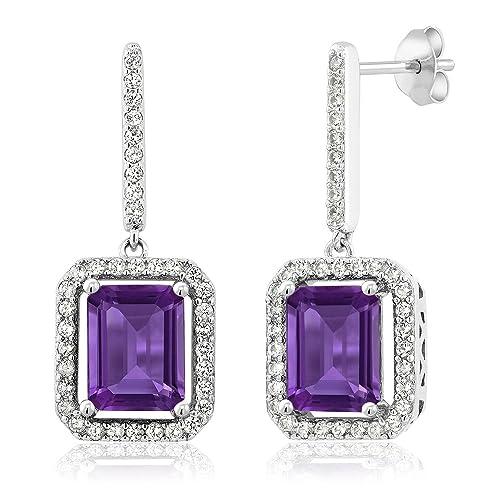 7d406e67a Gem Stone King Sterling Silver Purple Amethyst Women's Dangle Earrings 5.46  cttw Emerald Cut Gemstone Birthstone