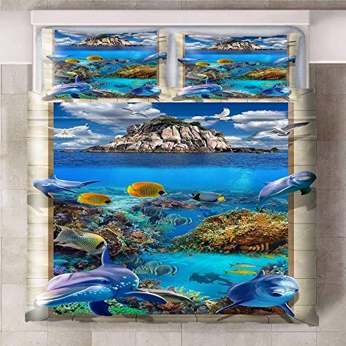 HYBWSO Funda De Edredón 3D Azul marrón Gris Amarillo Isla Coral delfín Juego De Cama 100% De Microfibra,con Cierre 140cmx200cm Adecuado para habitación Infantil de Hotel.