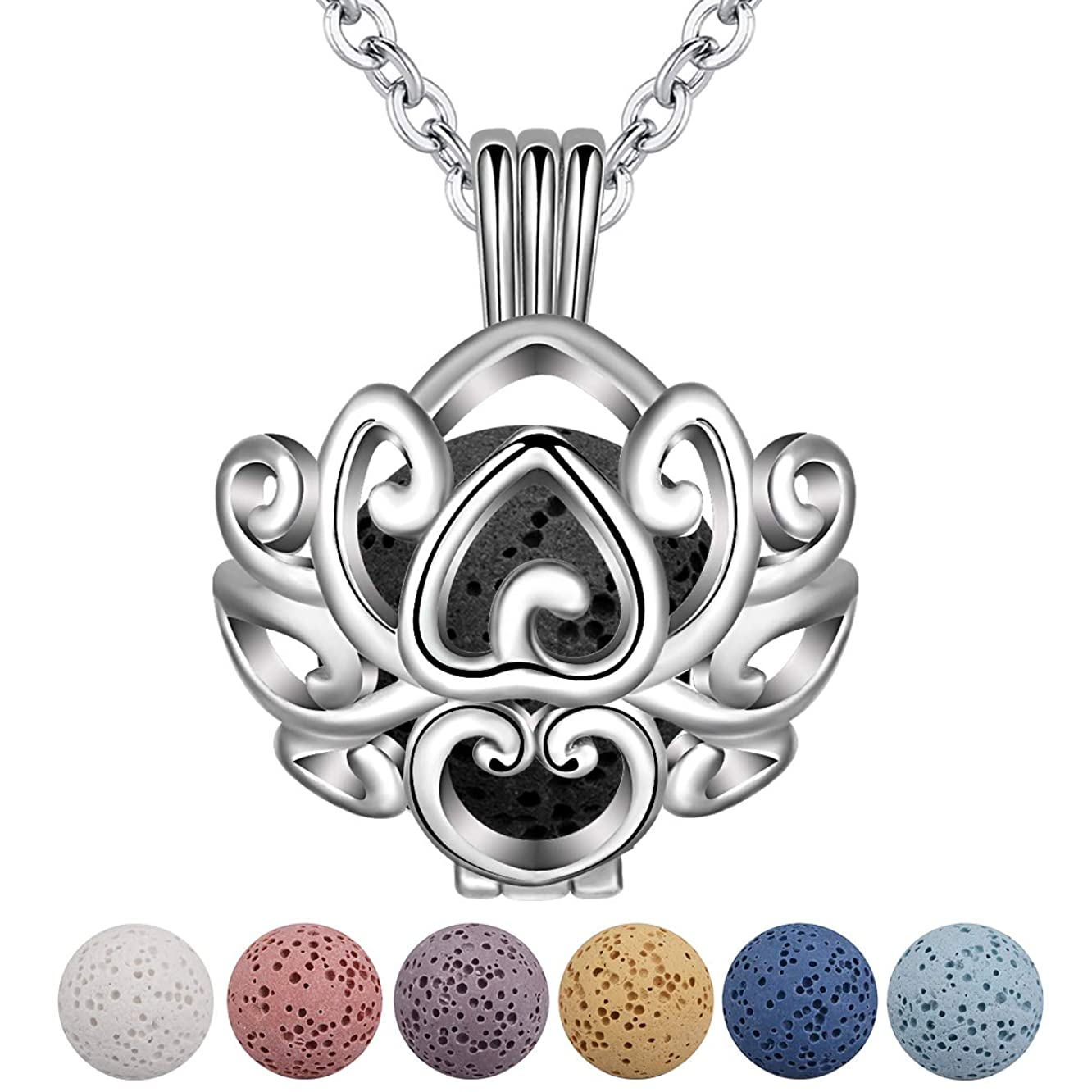 INFUSEU Aromatherapy Essential Oils Diffuser Necklace Flower Locket Pendant scented Jewelry set for Women Girl with 5 PCS Lava Rock Stones