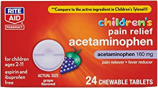 Rite Aid Children's Pain Relief Chewable Tablets, Acetaminophen, 160 mg - 24 Count   Pain and Fever Relief