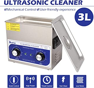 3L Ultrasonic Cleaner, Professional Sonic Cleaner w/Mechanical Timer Heater, Knob Control, Stainless Steel Low Noise for Cleaning Jewelry, Rings, Eyeglasses, Lenses, Dentures, Watches
