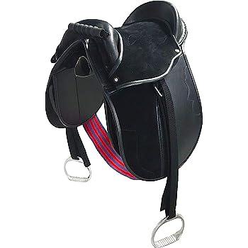 Cwell Equine Kids Pony Pad/Cub Sillín Completo con estribos, Circunferencia y Correas (10 Pulgadas, Negro)