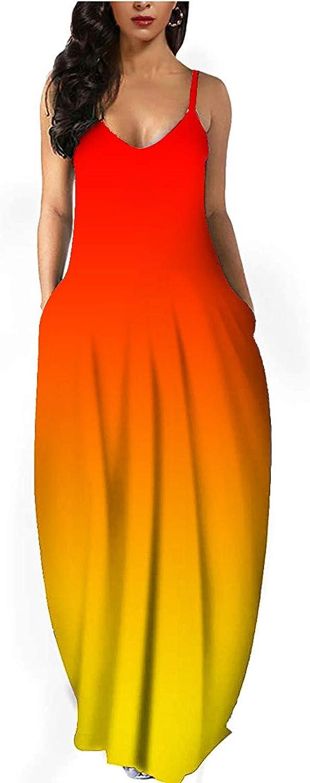 Aniwood Maxi Dress for Women, Women's Casual Sleeveless Gradient Print Long Dress Beach Sundress Party Cami Tank Dress