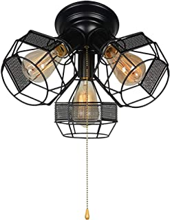 Baiwaiz Industrial Close to Ceiling Light with Pull Chain, Black Metal Wire Cage Semi Flush Mount Ceiling Light Pull String Light Fixture 3 Lights Edison E26 018
