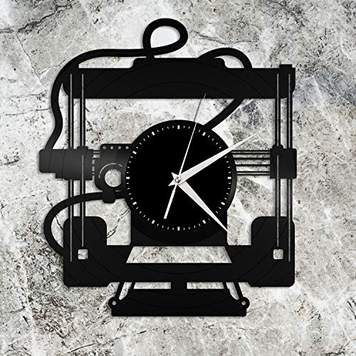3d Printer Vinyl Wall Clock Unique Gift for Friends Home Living Room Decoration Vintage Design Office Bar Room Home Decor Vinyl Wall Clock - Exclusive Music Design - Perfect Band Gift for Musician