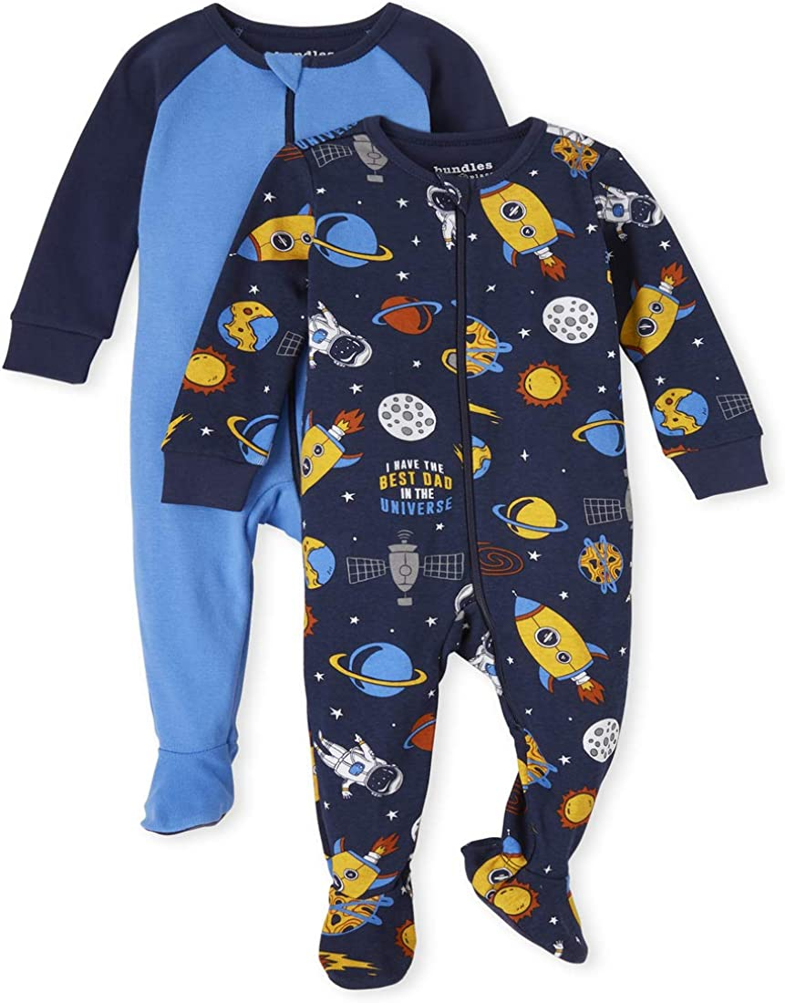 The Children's Place Baby and Toddler Boys Space Snug Fit Cotton One Piece Pajamas 2-Pack