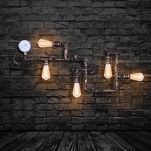 EDISLIVE Industrial Lámparas de pared Vintage Luces de pared Lámpara de montaje Tubo de agua Apliques de pared para Pub Cafe Hotel (bronce)