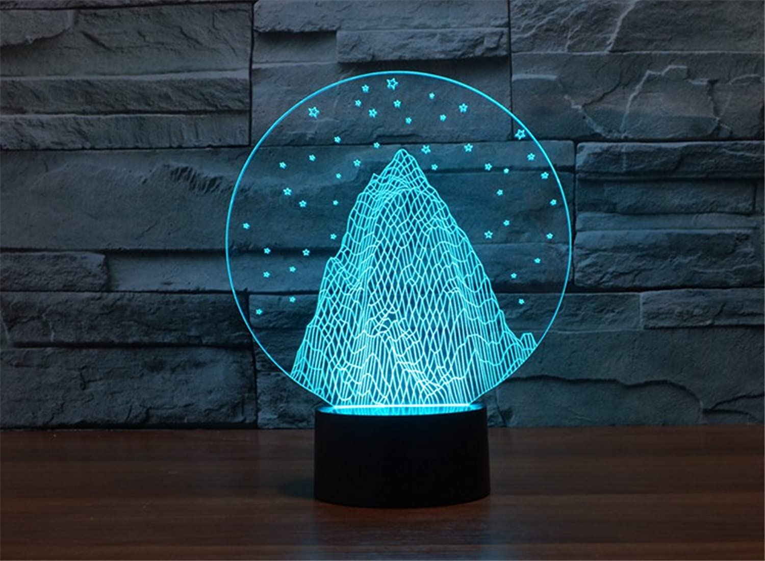 ATC 3D Optical Illusion Beautiful Snow Mountain USB Touch 7 color LED Bedside Lamp,Perfect Creative Gift