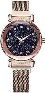 Watches For Women Large Wrist clearance,Fashion Starry Sky Noctilucent Watch Mosaic Diamond Quartz Mesh Belt Lady Watch