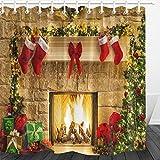 LB Navidad Cortinas de Baño Chimenea,calcetín Rojo de Navidad,árbol Verde Cortina de la Ducha 150X180CM Impermeable Antimoho Poliéster Decoración de Baño,con Ganchos
