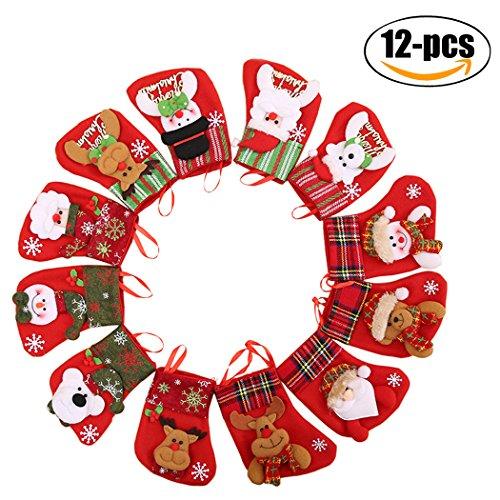Fascigirl 12Pcs Christmas Snata Calze Decorazione Albero di Natale (6.5inch)