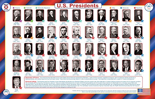 Tot Talk United States Presidents Educational Placemat for Kids, Washable and Long-Lasting