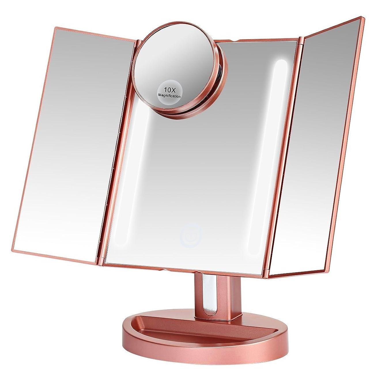 地上で五十シャワーLEEPWEI 化粧鏡  LED三面鏡 折りたたみ式 10倍拡大鏡付き 明るさ調節 180度回転