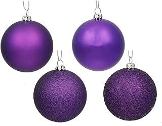 Vickerman Passion 4-Finish Ornament Set, Includes 32 Per Box, 3-Inch, Purple