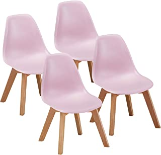 VECELO Kids Size Side Dining Room (Set of 4) Natural Wooden Legs Armless Chairs Standard Pink