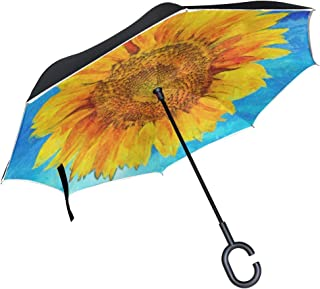 Inverted Umbrella Vibrant Sunflower Double Layer Reverse Umbrella for Car Windproof UV Protection Big Straight with C-Shaped Handle