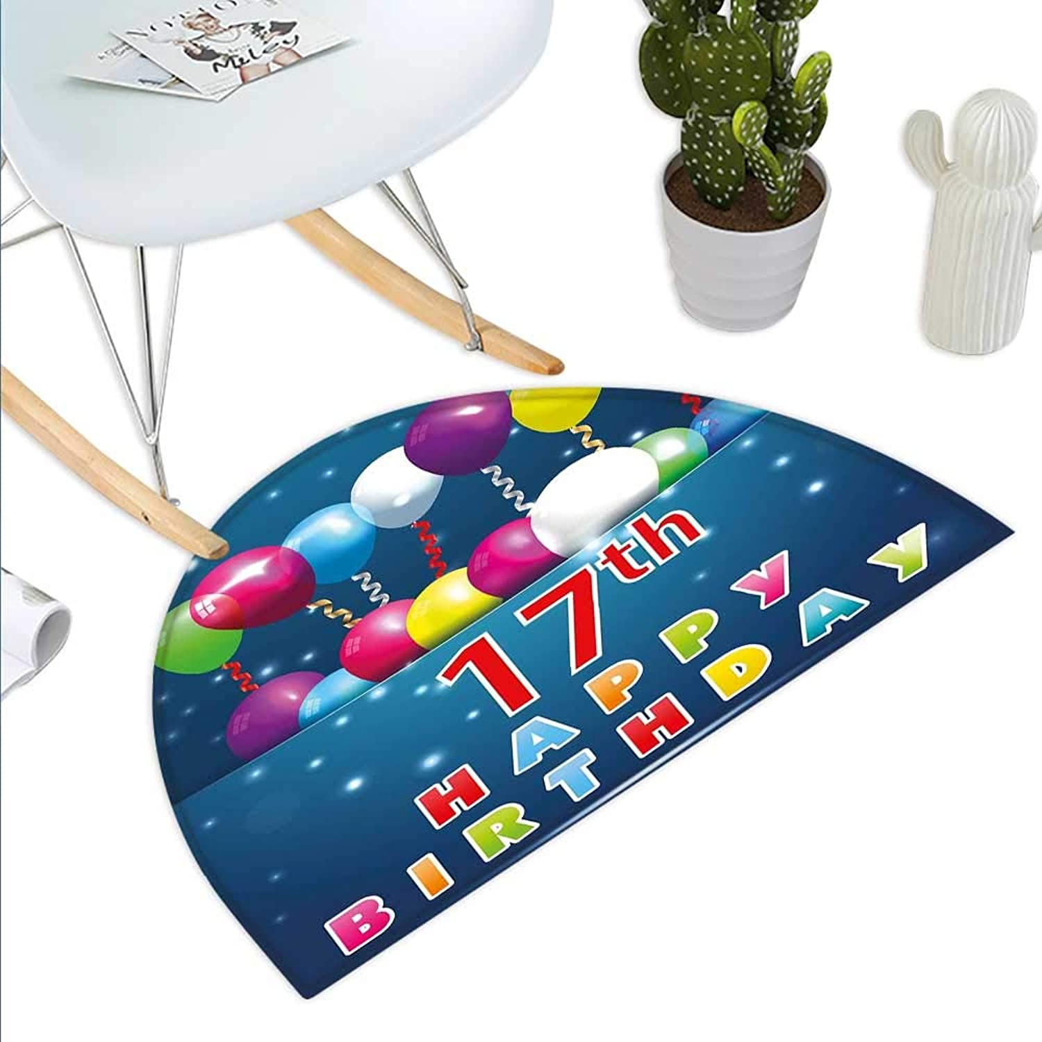 17th Birthday Semicircle Doormat Birthday Seventeen with colorful Balloons on bluee colord Backdrop Image Halfmoon doormats H 43.3  xD 64.9  Multicolor