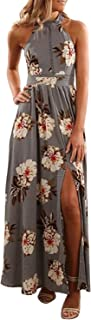 Women's Halter Neck Floral Print Backless Split Beach Party Maxi Dress