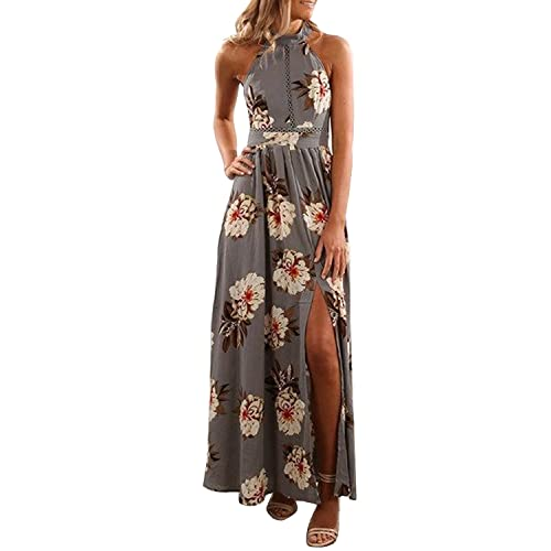 da3c0a235335 ZESICA Women's Halter Neck Floral Print Backless Split Beach Party Maxi  Dress