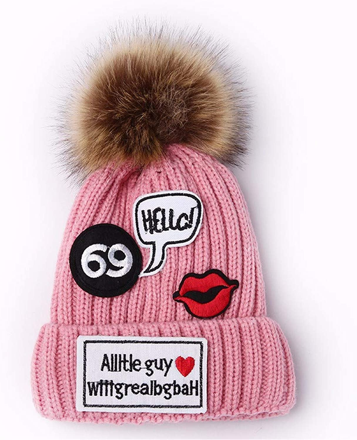 Chuiqingnet Fashion new patch ladies winter outdoor thick warm knit hat