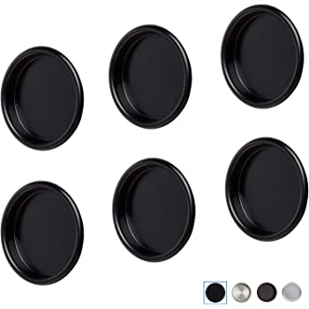 Amazon Com Closet Door Finger Pull Cabinets Handles Knobs 2 1 8 Inch Pocket Sliding Chromes Round Bypass Kitchen Insert Mortise Cup Polished Stain Nickle Hardware Snap In Installation Hole Opening 4 Pack Black Home Improvement