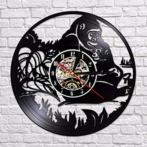 ZZLLL Reloj de Pared con luz LED Colorida de Familia de Animales de Gorila, Reloj de Mono con decoración de Arte Creativo con Registro de Vinilo y Sonrisa