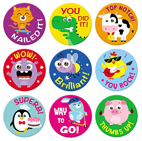 Sweetzer & Orange Reward Stickers for Teachers. 1008 Stickers for Kids in 9 Designs. 1 Inch School Stickers on Sheets. Teacher Supplies for Classroom, Potty Training Stickers, Motivational Stickers